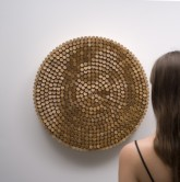 "Daniel Rozin : Peg Mirror, 2007. 650 wooden dowels, 650 motors, video camera, control electronics. 42"" x 42"" x 6"""