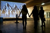 Visitors enjoying 'Snow Mirror' by Daniel Rozin Photo © Liza Lemsatef Cunningham
